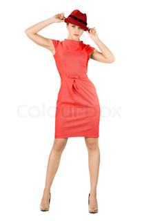 attractive businesswoman in red dress