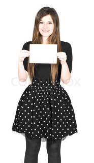 Portrait of a beautiful young woman holding a blank notecard