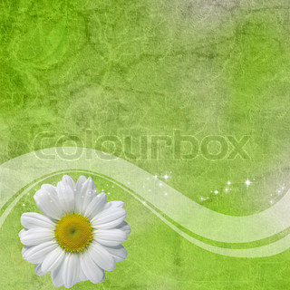 Abstract background with white flowers and wave
