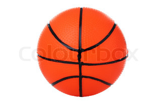An orange ball for basketball isolated on white background.