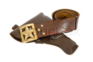 Old belt and holster on white background