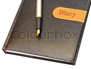 Isolated the gold pen and a leather diary