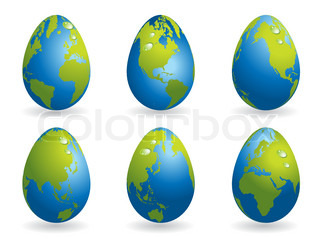 Easter eggs collection with world map