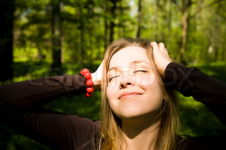 Young Blond Lady With Closed Eyes