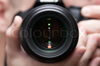 Human home photo - adult men holding lens camera