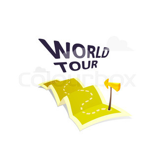 World tour concept logo long route in travel map with guide world tour concept logo isolated on white background long route in travel map with guide gumiabroncs Choice Image
