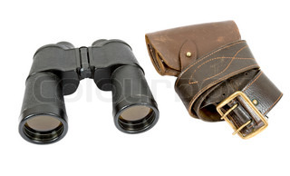 Russian army field binocular and army holster  on white background