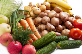 Healthy eating vegetable food on white background