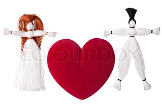 Valentine's day string doll toy red love heart