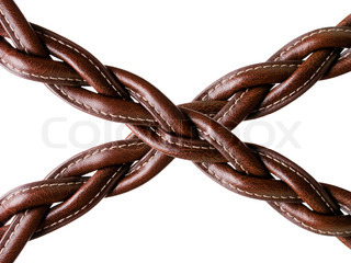 Woven brown leather belt isolated on white