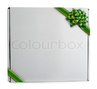 Gift box green ribbon bow isolated on the white background