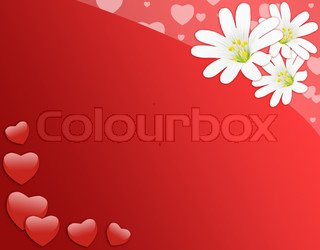 Red Romantic Card With White Flowers Stock Photo Colourbox