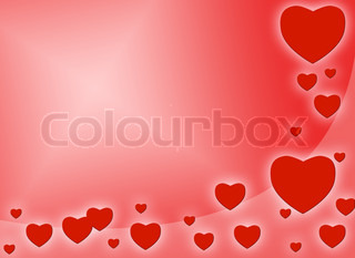 red romantic card with red hearts