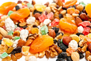 Mix dry fruit and nut n white background
