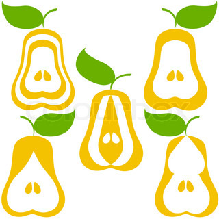 vector illustration of a set of pears isolated on white background.  can be used as logo