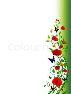 vertikalen floral bunten Sommer -Rahmen mit wirbelt, Schmetterling und Laub mit copy- Platz für Ihren Text