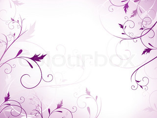 illustration of floral frame with swirls in violet