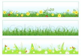 Illustration von drei Web-Banner im Frühjahr und Sommer Themen : Laub , Gras, Blumen und Schmetterlinge