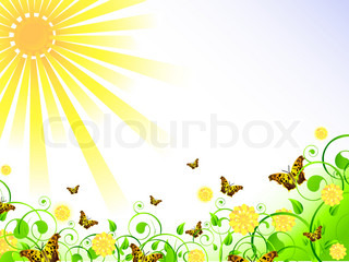 illustration of spring theme with swirls, butterfly, foliage, sun and copy-space for your text