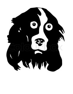 vector silhouette of the dog on white background