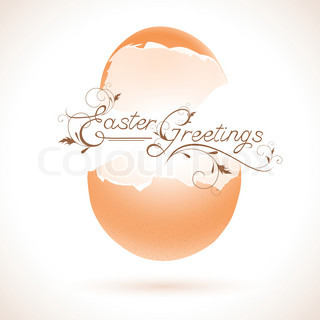 Easter greeting theme with broken egg and decorative text