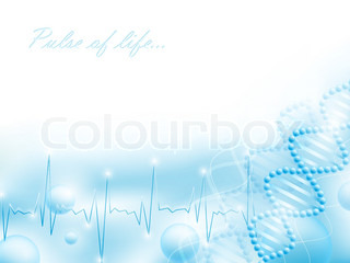 science theme with DNA  elements and pulse, copyspace for your text