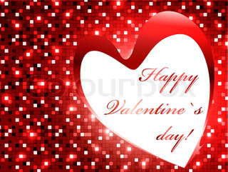 Mosaic Valentine`s day red frame with heart and copyspace