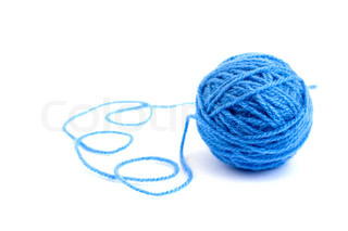 Ball of knitting yarn on a white background