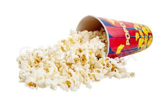 Popcorn auf einem weißen Hintergrund
