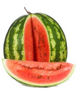 Vandmelon på hvid baggrund