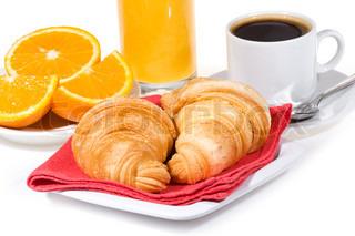 Morgenmad med croissanter , kaffe , orange juice,