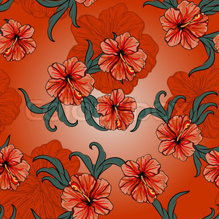 vector seamless spring pattern with hibiscus flowers and leaves, vintage