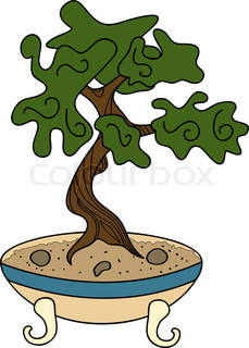 vector japanese style bonsai