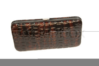 Brown shiny wallet on white background