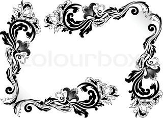 et sæt af sort hjørne ornamenter på hvid baggrund