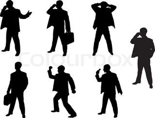 Silhouettes of businessman. Vector format.