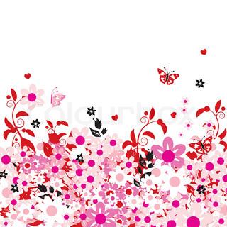 Vektor af 'smuk, blomstret, sommerfugl'