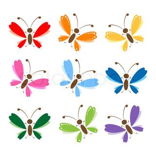 Vektor af 'sommerfugl, sommer, del'
