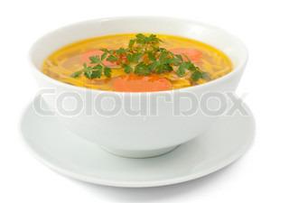Kylling suppe isoleret på hvidt