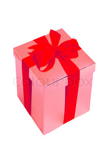 Gift pink box with red bow isolated on white