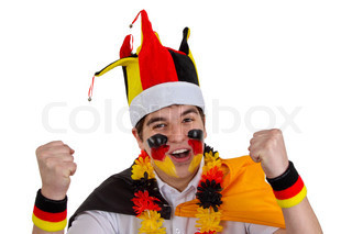Exalted german soccer fan - isolated on white background