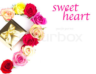Multicolor roses and golden gift on white