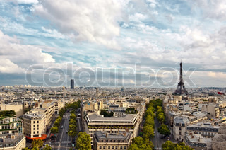 Paris arial view with Eiffel Tower and cloudy sky taken from Triumphal Arch