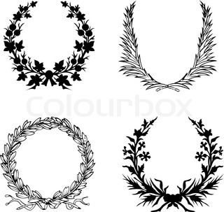 Set Of Four Black And White Laurel Wreath.