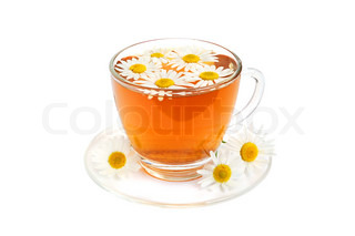 Herbal camomile tea on a white background