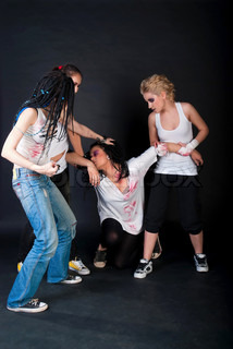 white fighting girls with dreads on black background. One girl with body art on her hand.