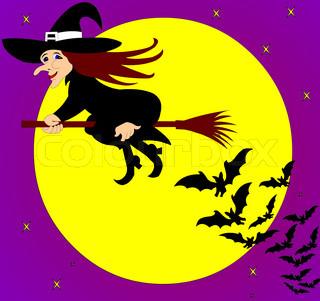 Die fliegende Hexe mit Fledermäusen auf den Hintergrund der Mond.