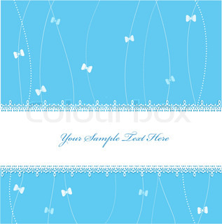 blue Vector greeting card with ribbons and lace