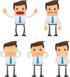 Reihe von lustigen Comic Büroangestellte in verschiedenen Posen für die Verwendung in Präsentationen, etc.