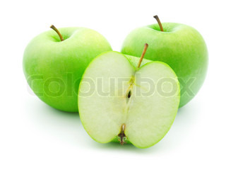 isolated green apple on white background